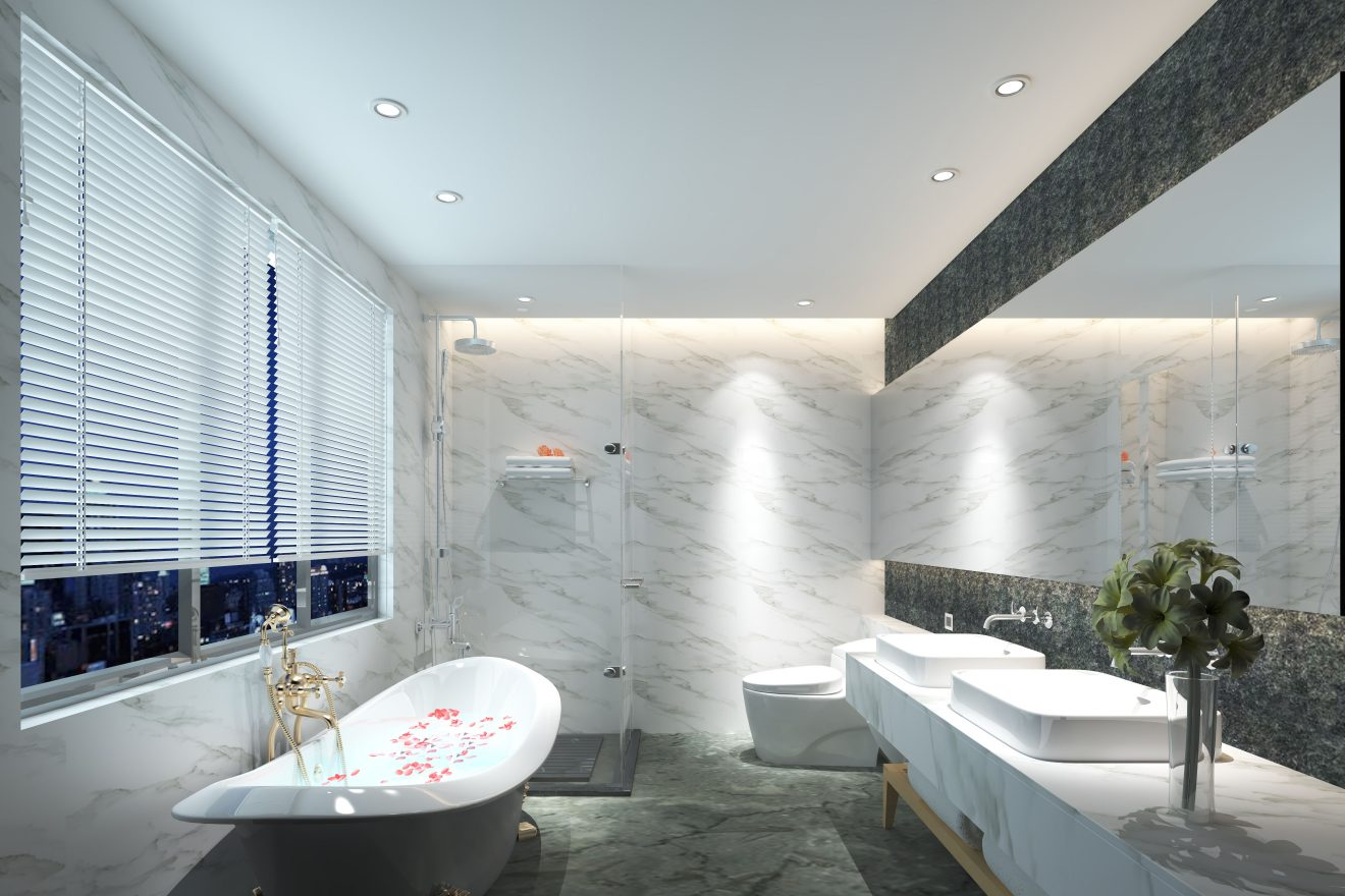 Infografía de baño, apartamento Madrid