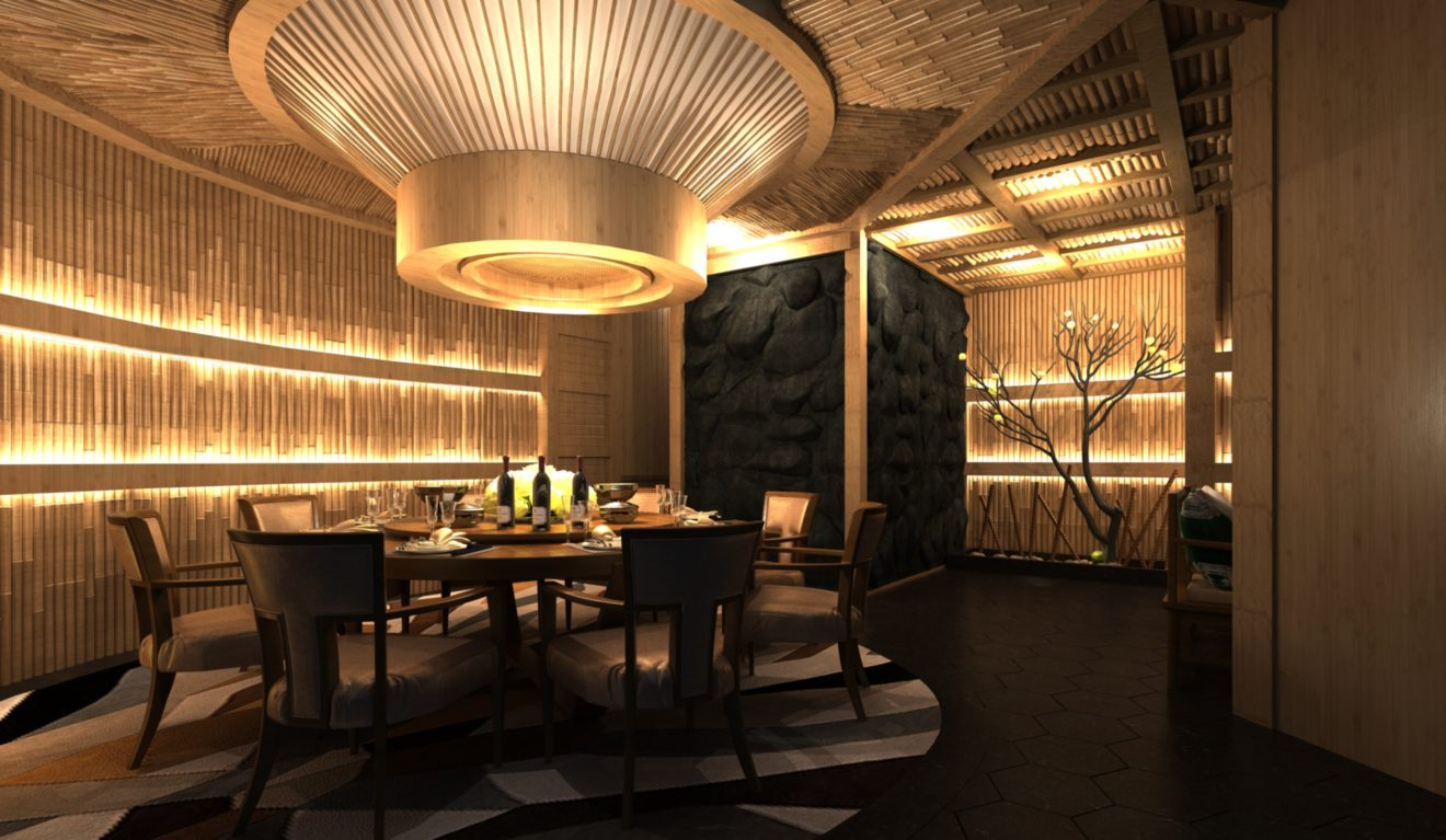 Diseño 3d de restaurante