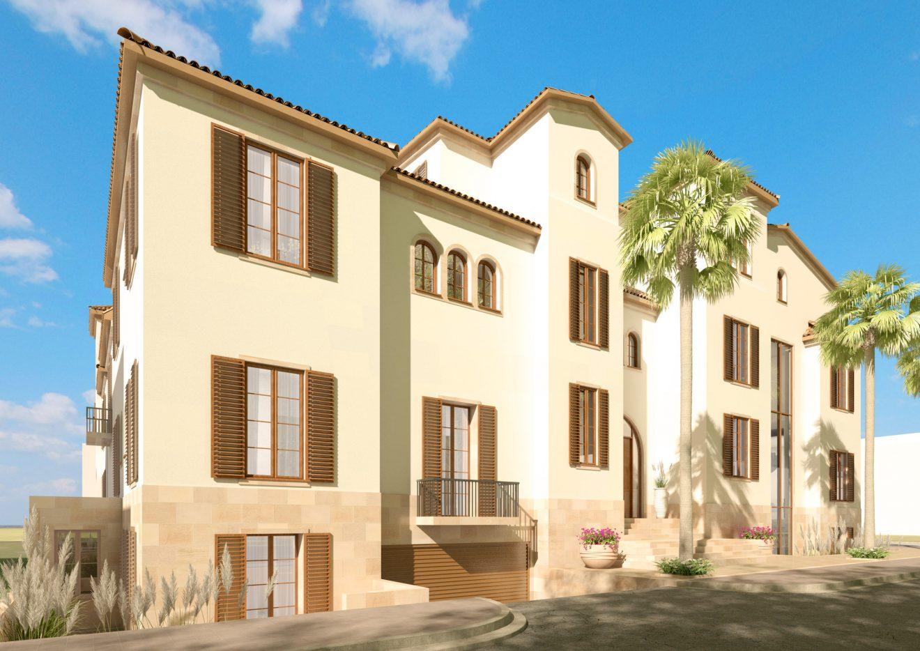 3D Render exterior en España de Casa Grande para Inmobiliaria de Sevilla