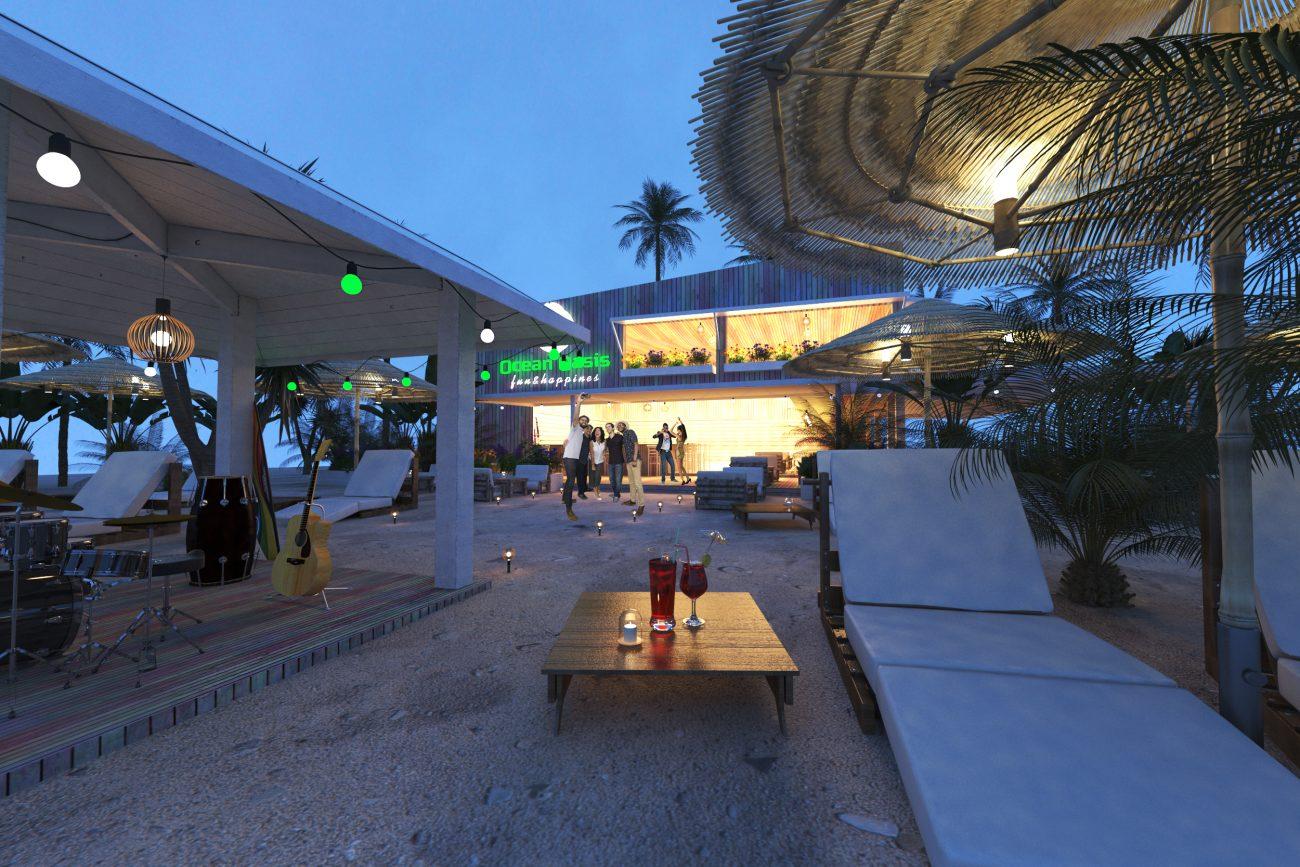 Proyecto 3d de Beach bar con 3d ojo