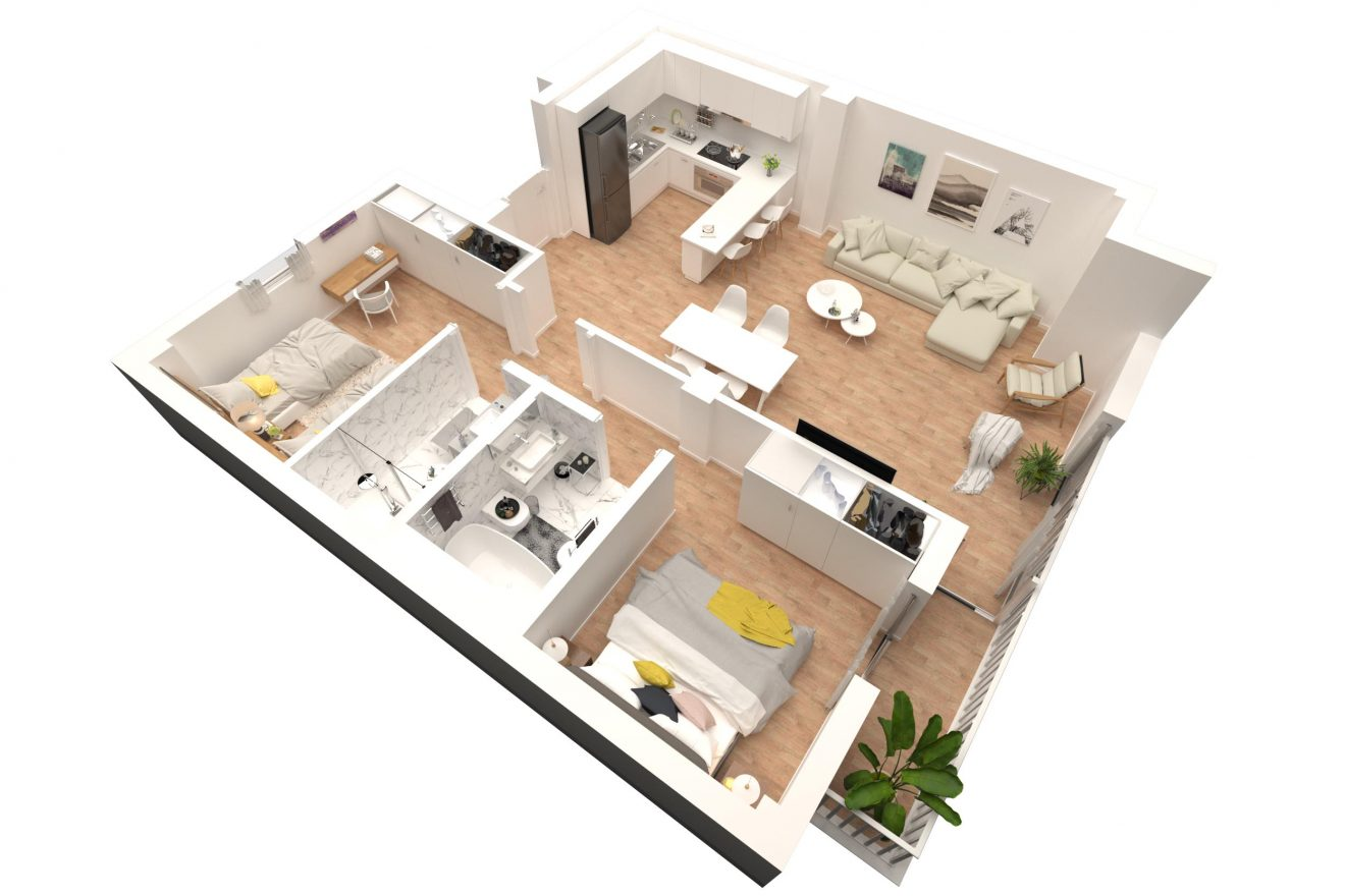 Plano 3d de piso en Malaga