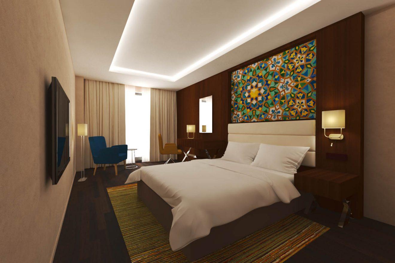 Infografía 3D de proyecto contract para habitación de hotel