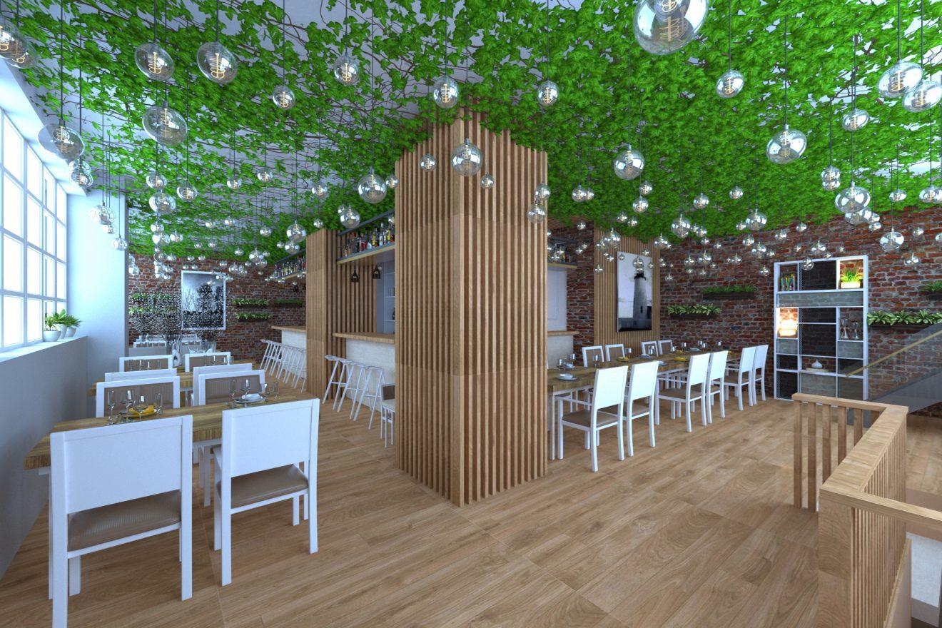 Proyecto 3d para interior de restaurante