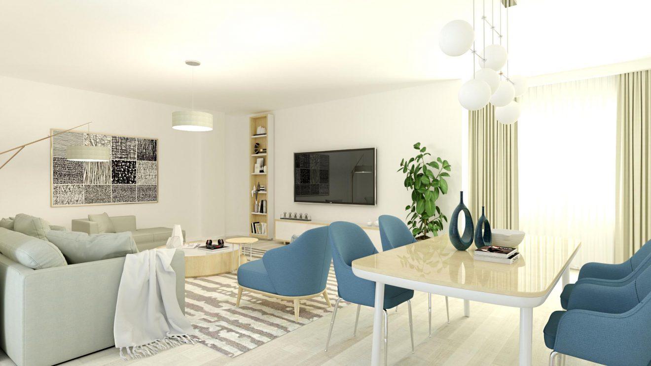 Infografías 3D de salón de piso