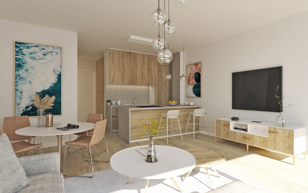 Salón y cocina 3D para promotora de Málaga