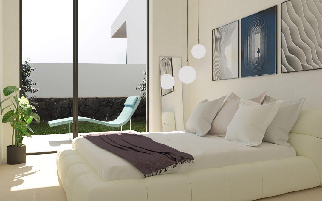 Infografía 3d de un dormitorio