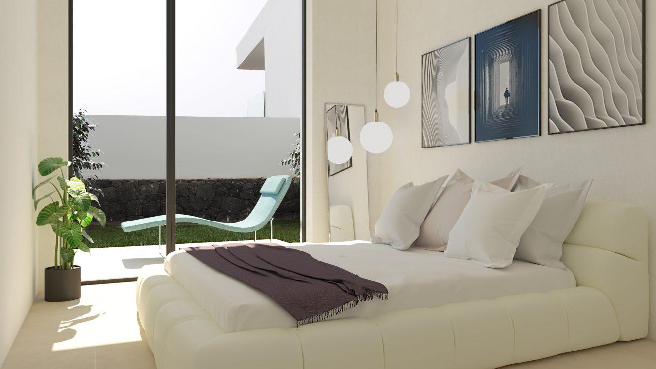 Infografía 3D de dormitorio en Tenerife