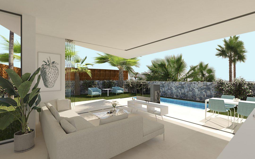 Infografía 3D de salón de lujo en Canarias
