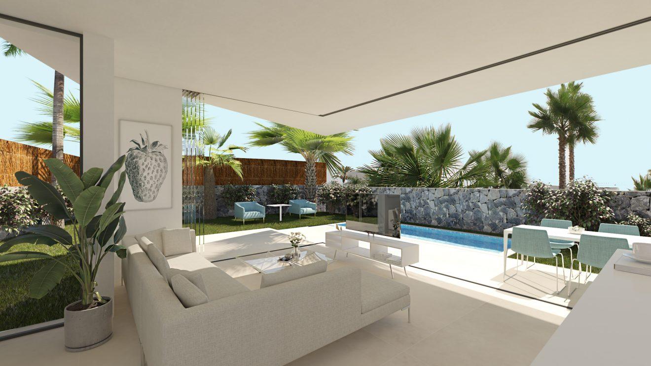 Infografía de salón de lujo en Canarias