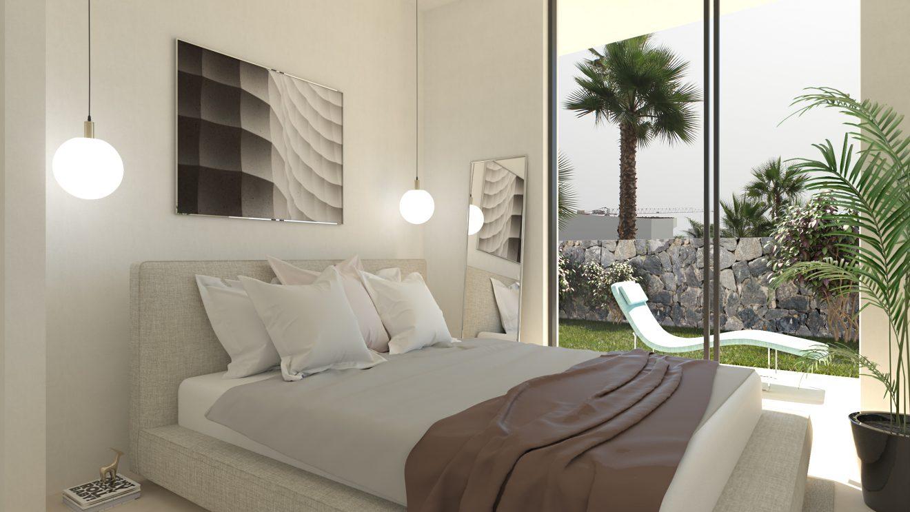 Infografía 3D de dormitorio en Alicante