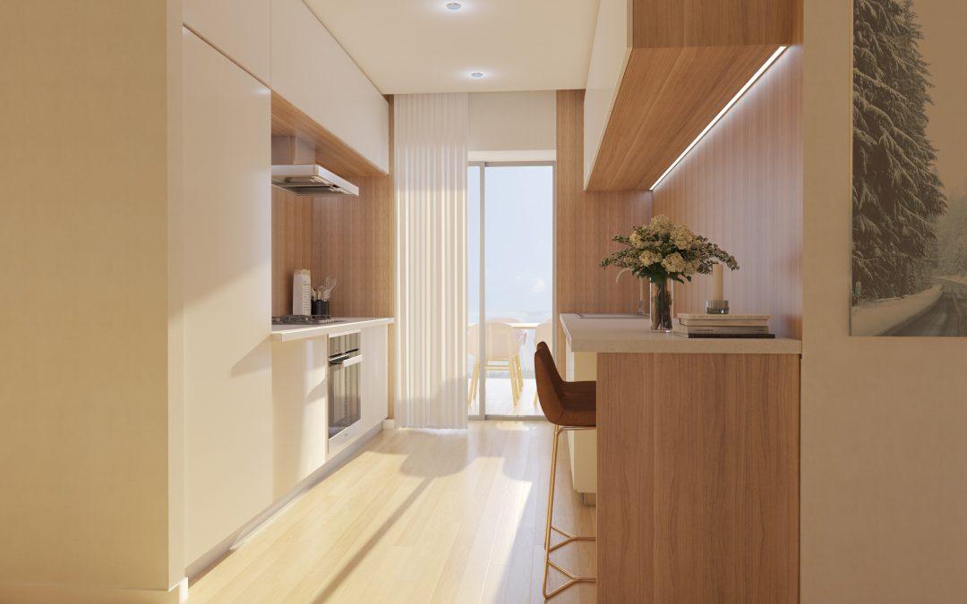 Infografía 3D de una cocina tranquila y soleada