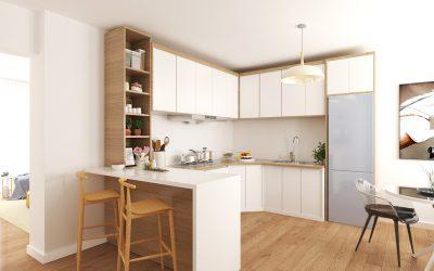 3D кухня с много светлина
