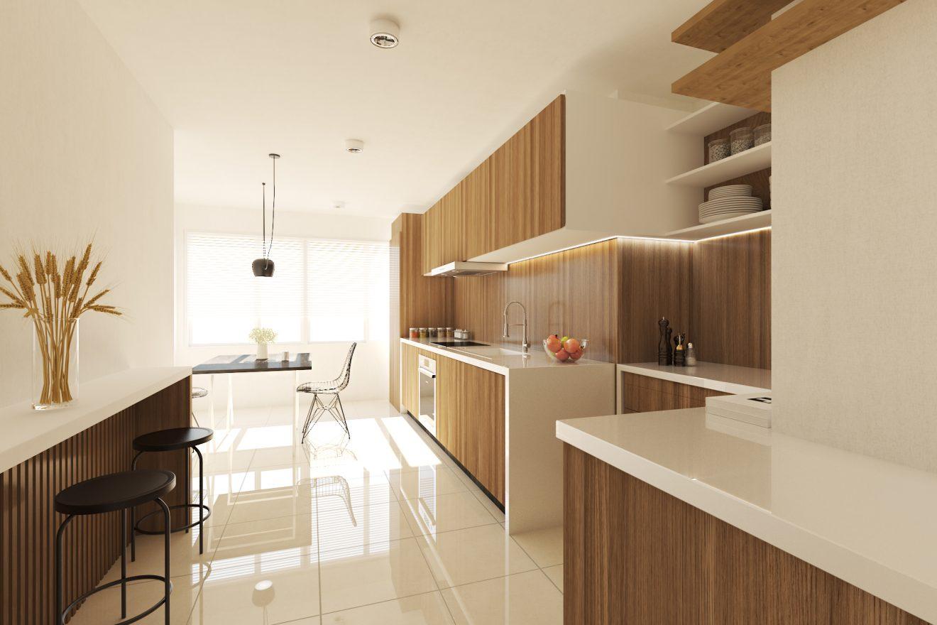 Render 3D de una cocina