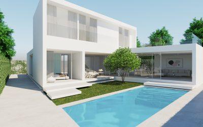 Casa moderna en 3D infografía