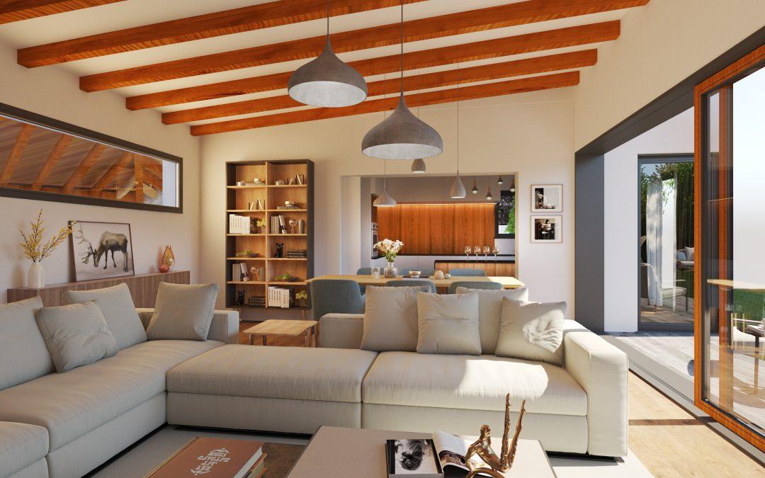 Casa de madera en interior 3D