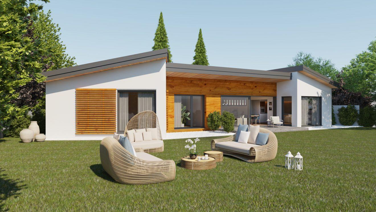 Infografía 3D de casa de madera