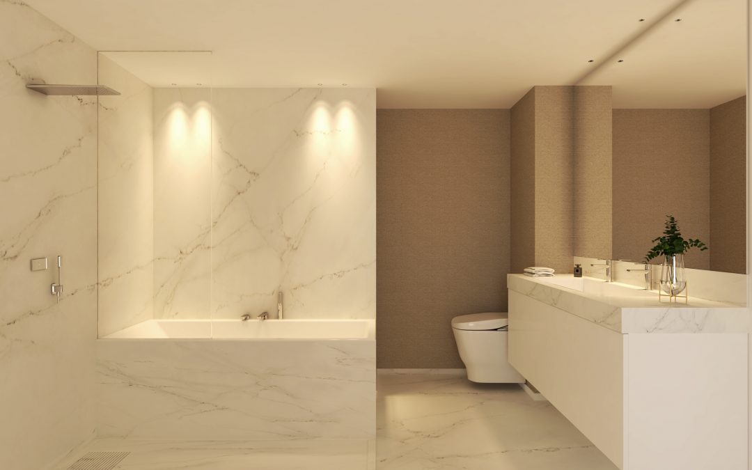 Render 3D de baño hecho para un estudio de interiorismo de Madrid