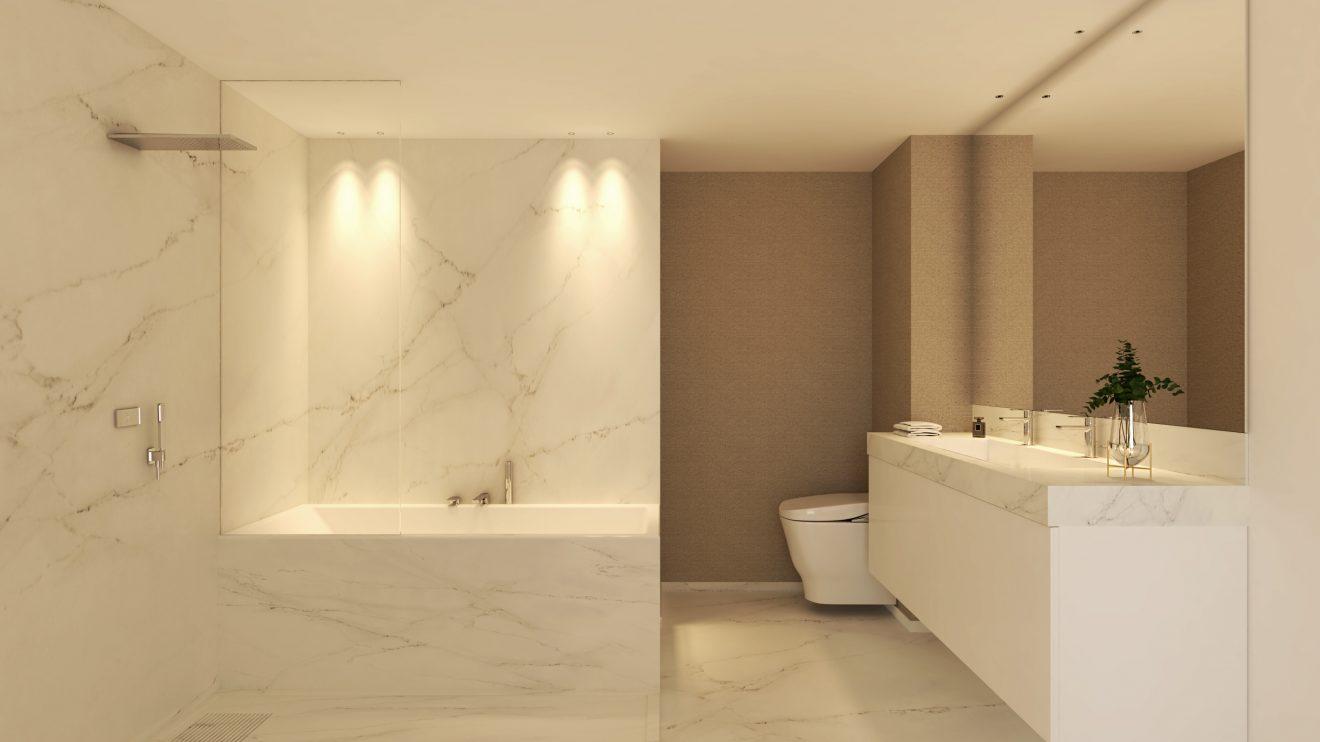 Render 3D de baño para interioristas