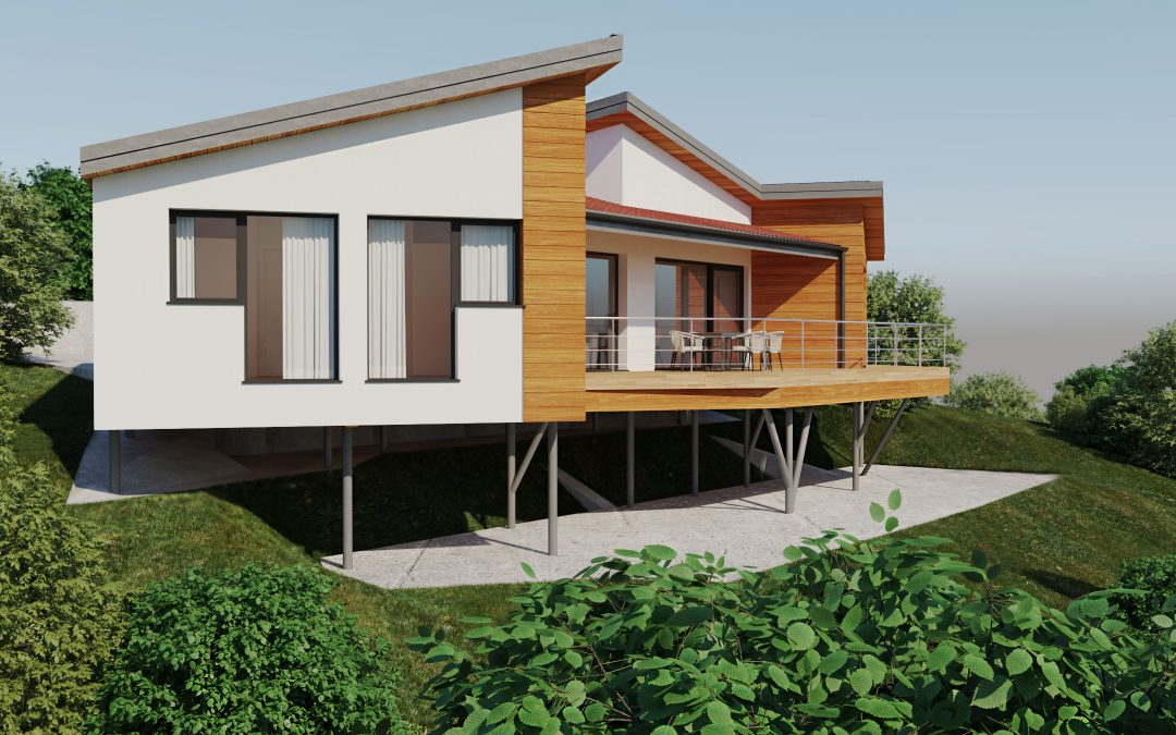 Visualizaciones 3D de casa de madera