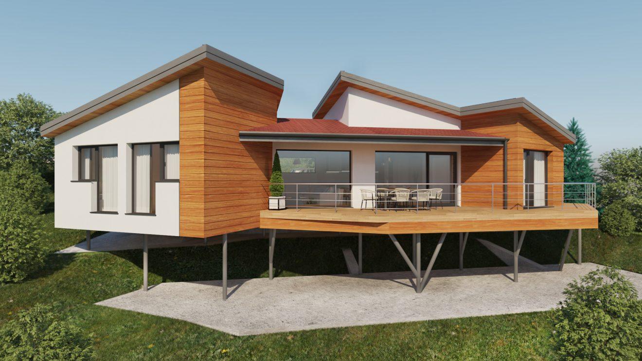 Visualizaciones 3D de casa exterior