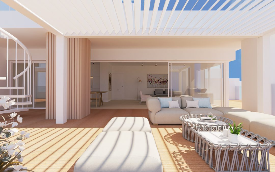 Render de Interiorismo 3D de una terraza
