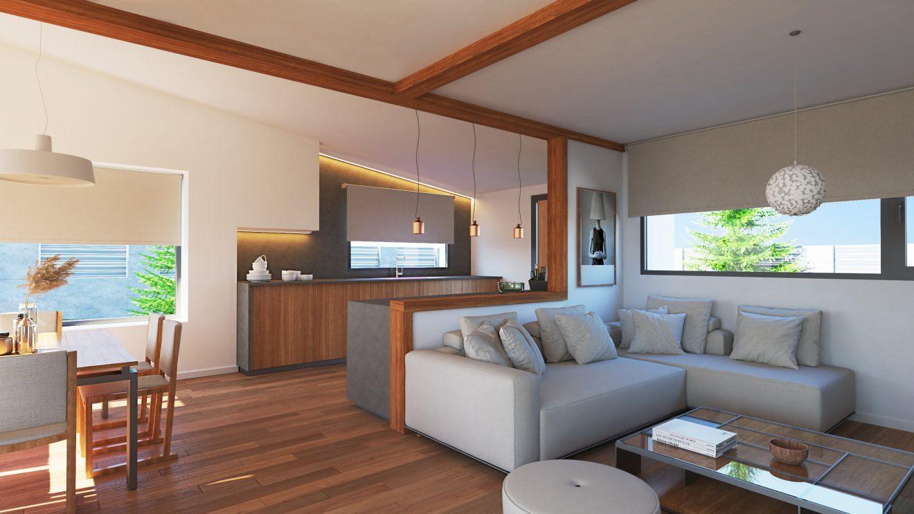 Interior 3d de casa de madera