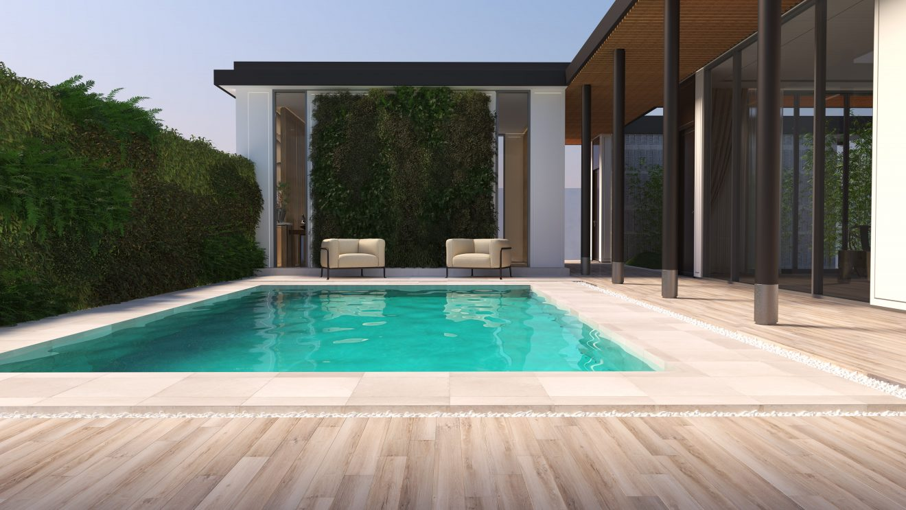 Renders de azulejos con diseño de exterior