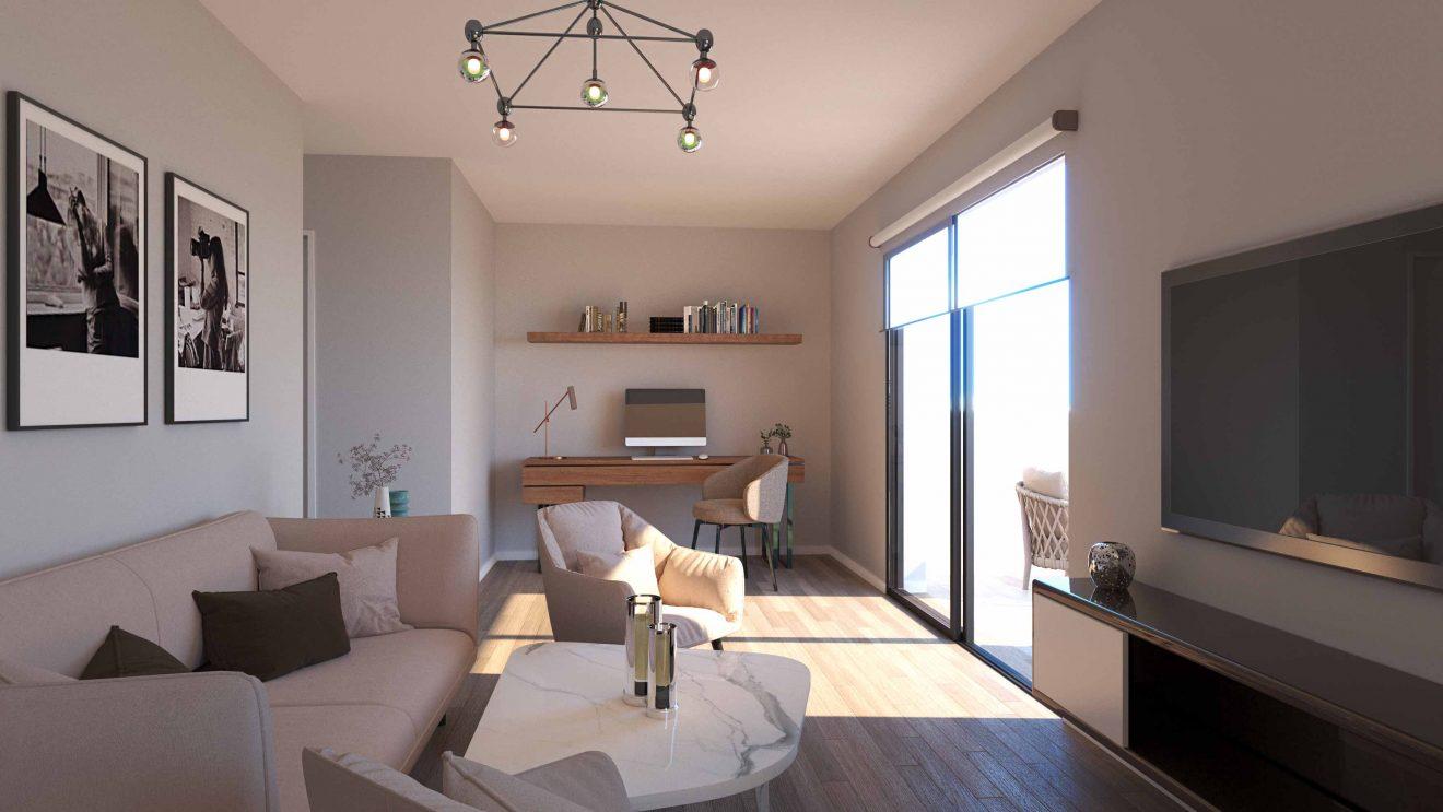 Equipamiento con muebles tapizados de Apart hotel interiorismo